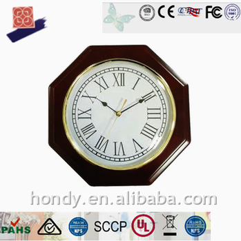 Battery Operated Solid Wood Octangle DCF/ MSF/ JJY/WWVB Radio Controlled Analog Wall Clock For Germany, Britain, Japan, USA