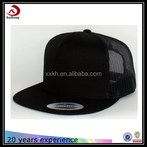 embroidery or printed promotion custom flat brim black trucker cap high blank