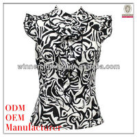 trendy design printed stand collar princess cutting blouse