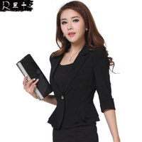 2016 Juqian hot latest slim fit three quarter sleeve elegant ladies formal office suit black