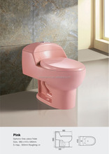 Bathroom Top Button Econormic One Piece Toilet Pink Color