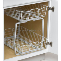 Two Tiers Wire Kitchen Cabinet Sliding Basket