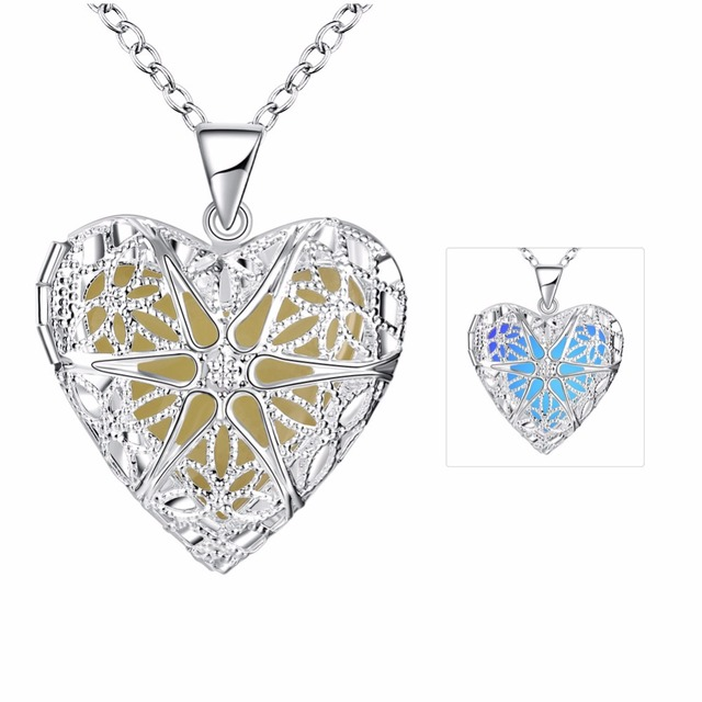 Buyee Fluorescent Necklace Sea Heart Cage Pendant Necklace Glow In The Dark Necklace Copper Jewelry For Party