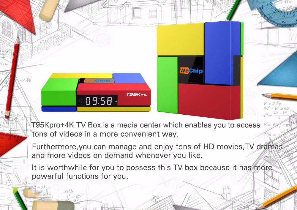 2016 Newest Arrival Smart Tv Box Android 6.0 Marshmallow tv Box Amlogic S912 Octa Core Wechip T95K Pro