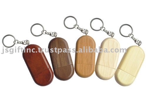 Wooden USB Flash Drive with Big key ring