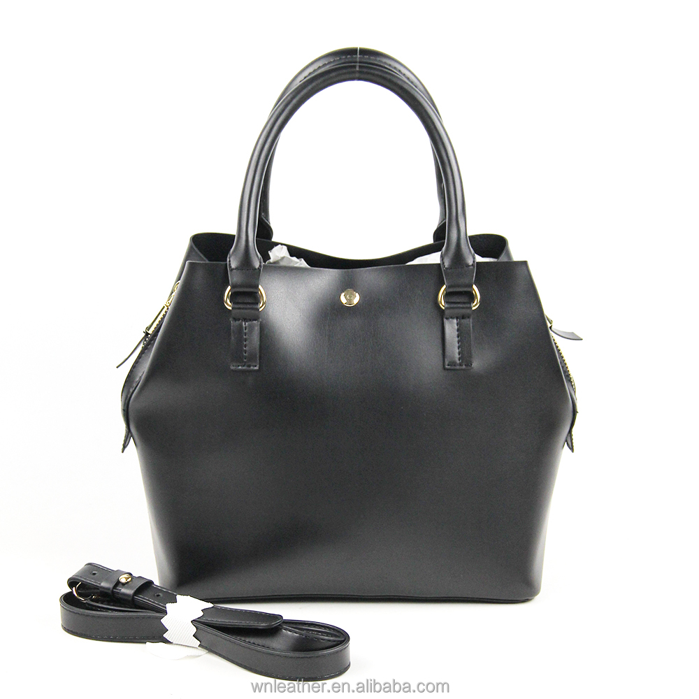 LH-1136 2018 Trend Wholesale Custom Made Bag OEM Accepted Cheap Black Vegan PU Leather Shoulder Handbags