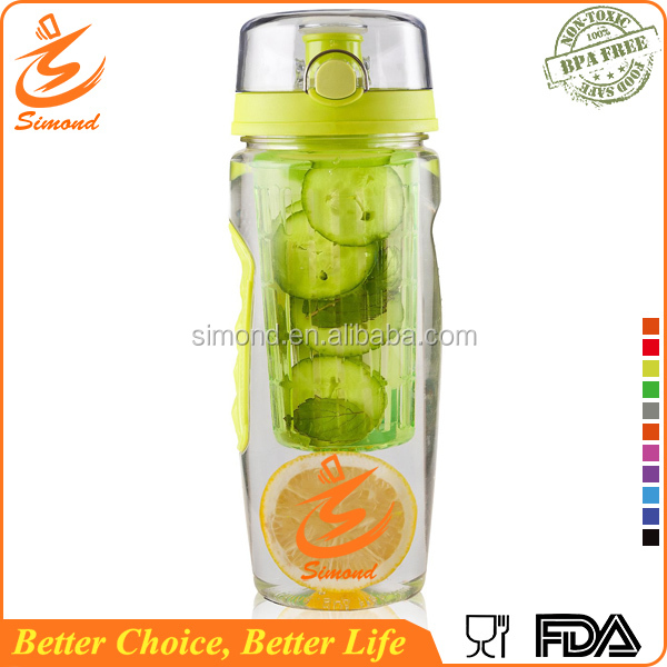 32oz cheap model new bpa free fruit infuser water bottle with push lid with infuser