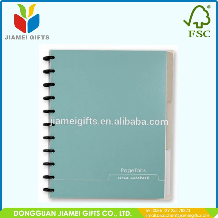 hot sale A4/A5/A6 wholesale bulk plastic cover spiral notebook ,with color pages and colored index tab divider