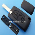 Replacement shell folding remote key fob case Peugeot 2 button flip key case no logo with groove blade(CE0536)