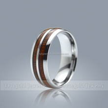 Highly polisehd two line wood inlay tungsten carbide band ring