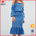 spring summer 2017 Bardot neck Mini length lining Ruffle waist trim Flared sleeves Off The Shoulder italy new ladies dress