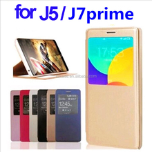 PU leather case for samsung galaxy j5 prime,smart window cell phone case for samsung galaxy j5 prime