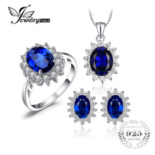 JewelryPalace Synthetic Oval Blue Sapphire 925 sterling silver jewelry sets Engagement Anniversary