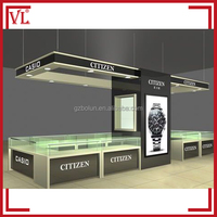 Elegant brand names of watch shop display showcase