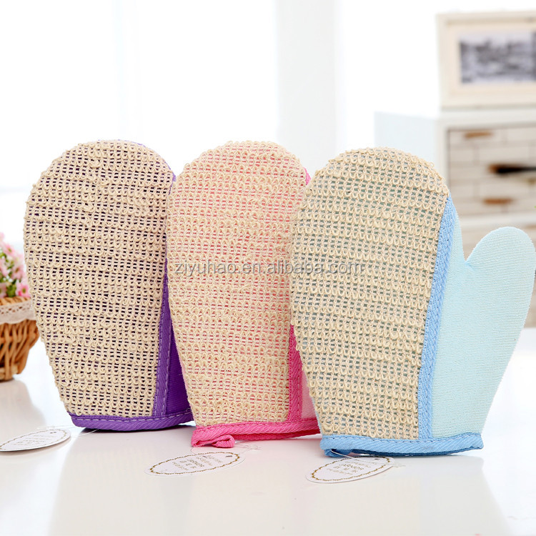 Promotional soft cotton hemp exfoliating body shower scrub bath glove mitt