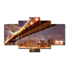 Set of 5 Panel New York Canvas Wall Art Pictures Bridges Cities