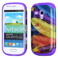 Beautiful Pattern 2 in 1 Detachable design For Samsung Galaxy S3 Mini i8190 Silicone+PC Hard case cover