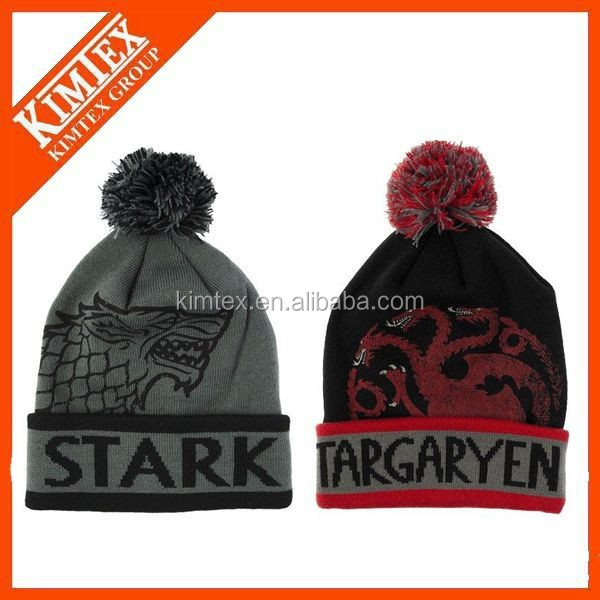 wholesale custom acrylic knitted boy pom pom beanie hat