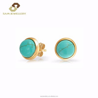 Latest Design Stud Ball Sharpe Green Turquiose with 18K Gold Plated 925 Wholesale Sterling Silver Earring.