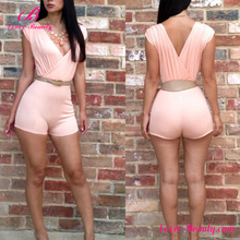Deep v neck sweet pink summer mini women jumpsuits and rompers