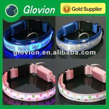 Silk print logo glowing dog collar Flashing dog collar silicone dog collar