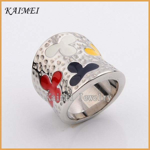 Fashion Jewelry Wholesale Cheap Price Titanium Steel Colorful Fancy Big Ring For Mens