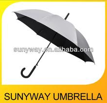 23''*8ribs silver sun protection straight umbrella auto open