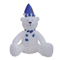 Outdoor /Indoor Hanukkah Inflatable Polar Bear Christmas Decoration with blue Santa Hat