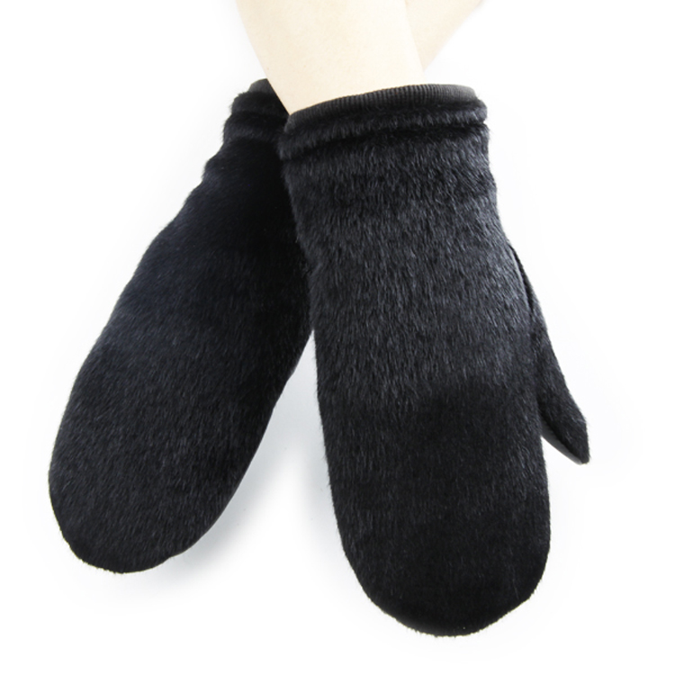 Horsehair Splicing Knitted Elastic Cuff Men Winter Warm Leather Mittens
