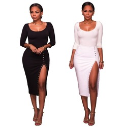 B33729A Autumn ladies hot fashion long sleeve celebrity bodycon split dresses