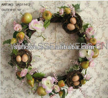 "Hot Sale 10"" Artificial Polyster Rose&Fruit with Eggs Easter Wreath Easter decoration"