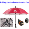 Private Label Folding Umbrella with Built-In Fan, 48 Inch Umbrella Keeps You Cool