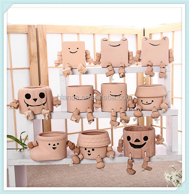 funny terracotta flower pot with unique design in cartoon style flower pot for home decor