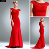 Red Chiffon Cap Sleeve Mermaid Long Dresses With Beads