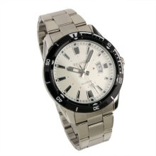 New Mens White Dial Black Bezel Date Stainless Steel Quartz Watch WM167