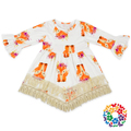 New Design Girls Long Frock Fall Fox Print Baby Girls Dresses Lace Baby Frock Designs