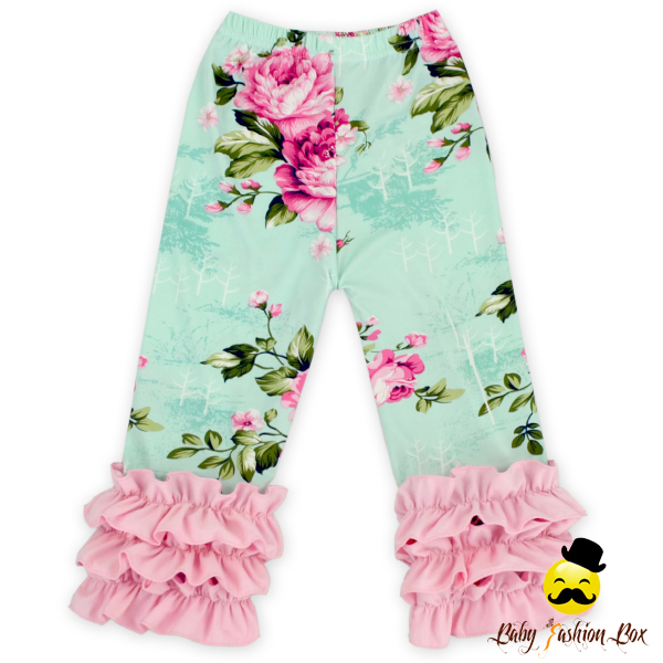 Bulk Wholesale Kids Wear Clothing Girls Boutique Blue Pink Floral Tripe Ruffles Pants Baby Leggings