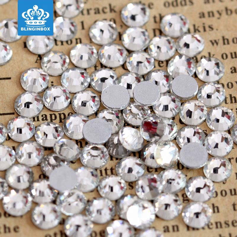 Free Shipping Wholesale SS10 1440pcs/bag Clear <strong>Crystal</strong> Round Flat Back Rhinestone