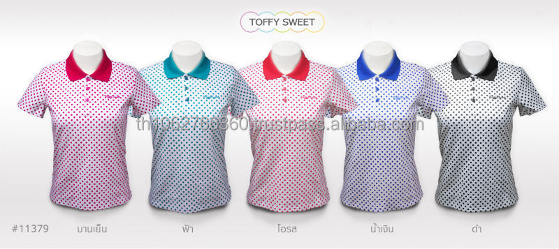 Fashion Women Polka Dot Print Design Polo T-shirt #TF11379
