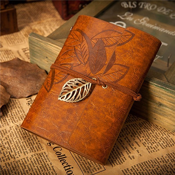 2017 Customized Design Journal Diary Gift PU Leather Cover Loose Leaf Blank Notebook