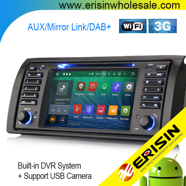 "Erisin ES3453B 7"" Android 7.1 Car Multimedia Player GPS System for BMW E53 E39"