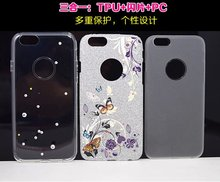 Fashion TPU PC Back Case for iPhone 6Plus/6s Plus Shiny Diamond Hard Painted Back Case with Unique Design MT-5409