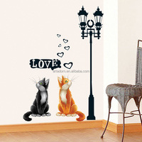 Home Decor Art Under Light Love Cats Decal Removable Wall Sticker Lamp for Living Room