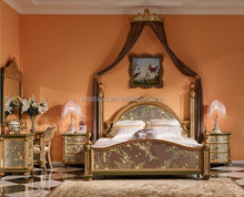 Glorious Wooden Bedroom Furniture, Exquisite Hand Painting Princess Bed With Night Stand, Classical Wood Carved Bedroom Set