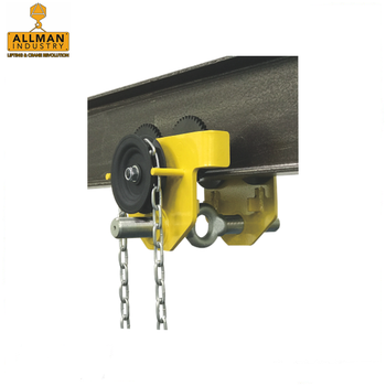 ALLMAN CE certificated 1ton Low Headroom Manual Geared Trolley for lifting chain hoist
