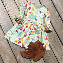 High quality baby winter dress girls mint floral dress boutique kids floral ruffle winter dress