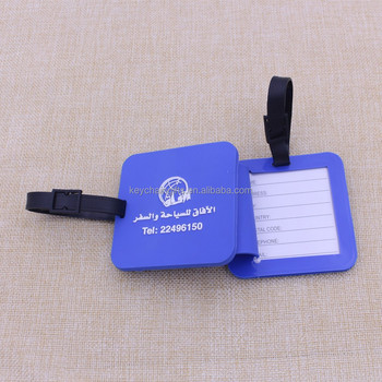 Custom PVC self adhesive luggage tags for strap