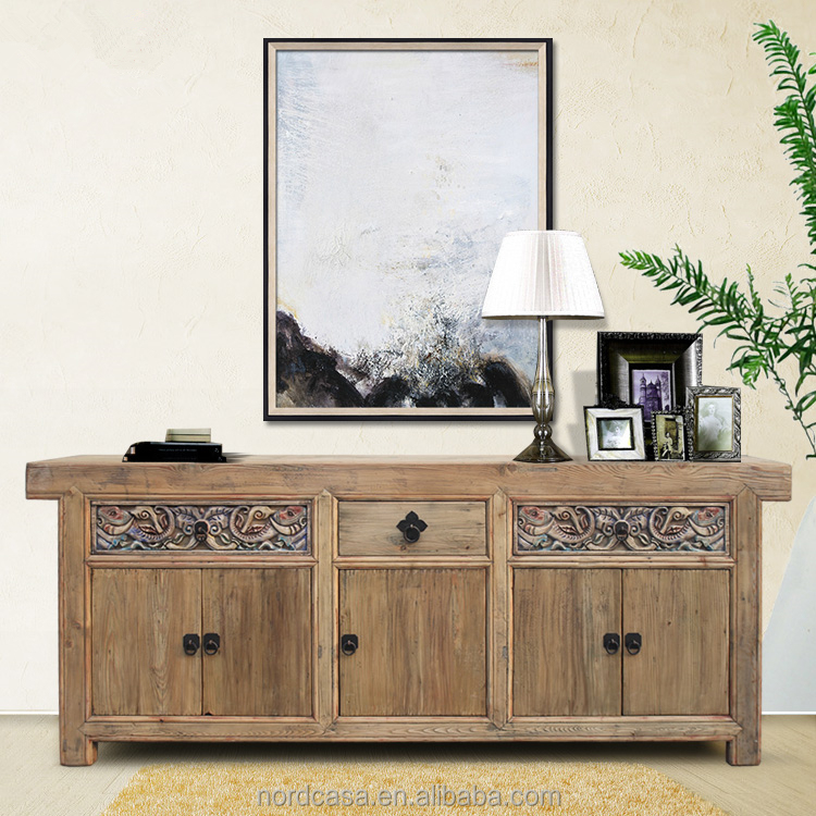 three drawer five door antique style chinese sideboard buffet