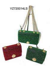 Ladies special style bright flash shoulder bag metal strap feature bag