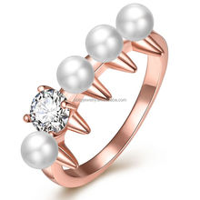 Wow Amazing Look European Trendy High Quality Handmade Women's 18k Rose Gold Plated Pearl Engagement Serrated Ring